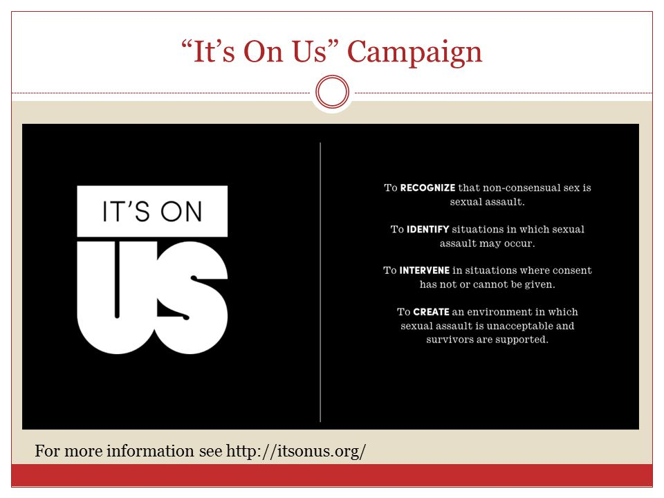 It's On Us Campaign For more information see