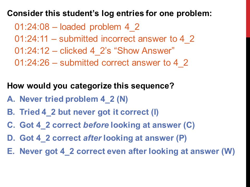 Consider this student's log entries for one problem: 01:24:08 – loaded problem 4_2 01:24:11 – submitted incorrect answer to 4_2 01:24:12 – clicked 4_2's Show Answer 01:24:26 – submitted correct answer to 4_2 How would you categorize this sequence.