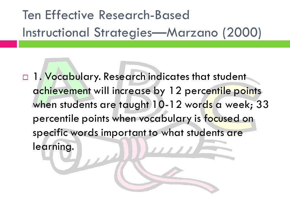 Ten Effective Research-Based Instructional Strategies—Marzano (2000)  1.