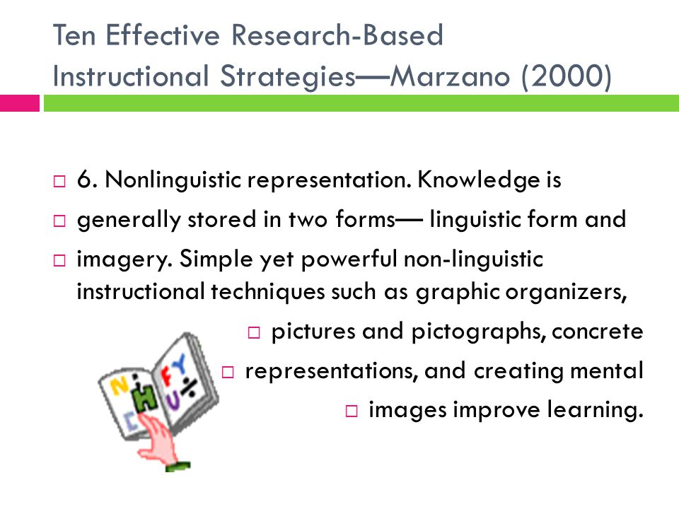 Ten Effective Research-Based Instructional Strategies—Marzano (2000)  6.