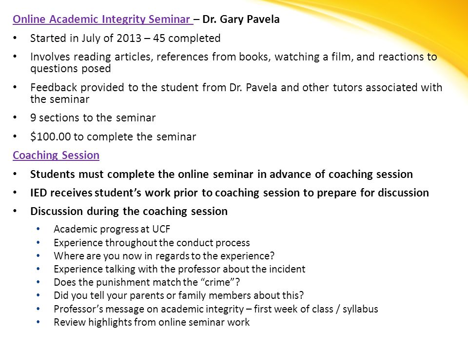 Online Academic Integrity Seminar – Dr.