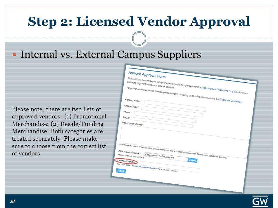 28 Step 2: Licensed Vendor Approval Internal vs.