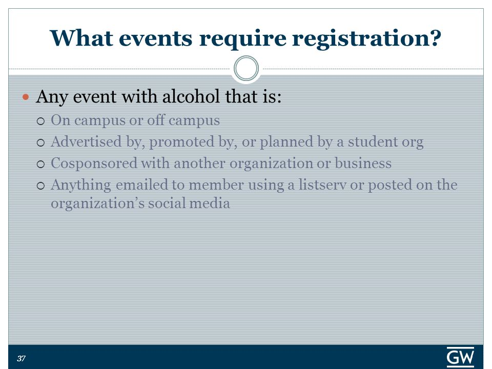 37 What events require registration.
