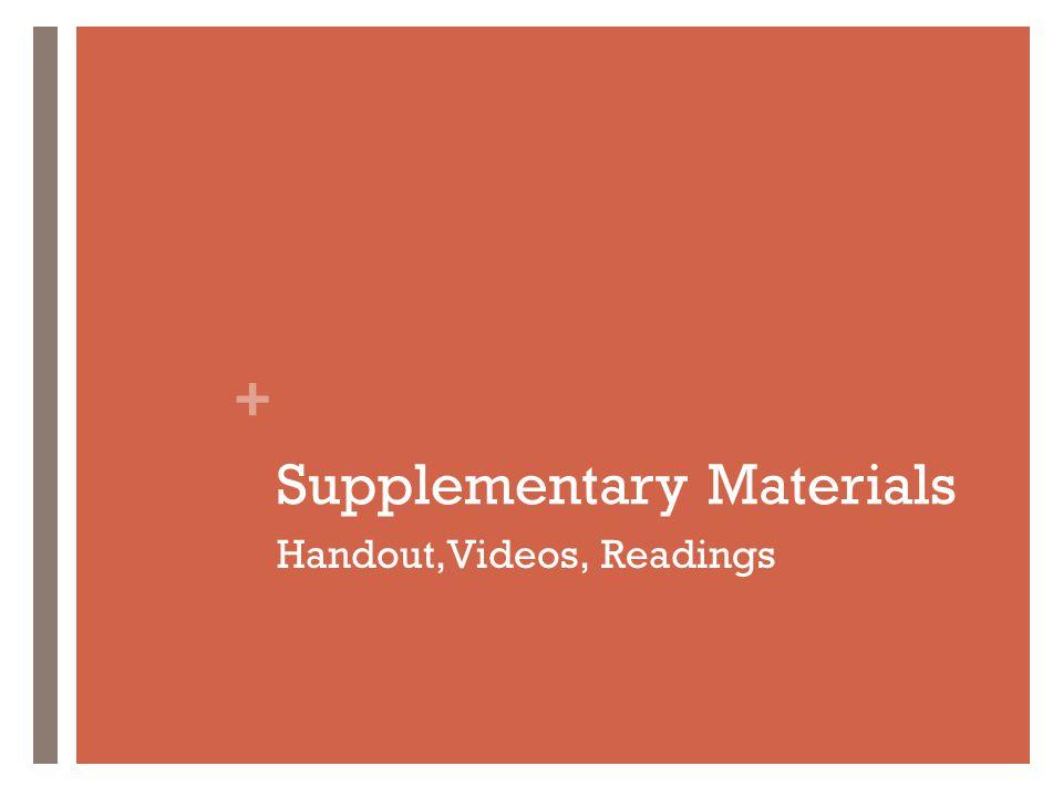 + Supplementary Materials Handout,Videos, Readings
