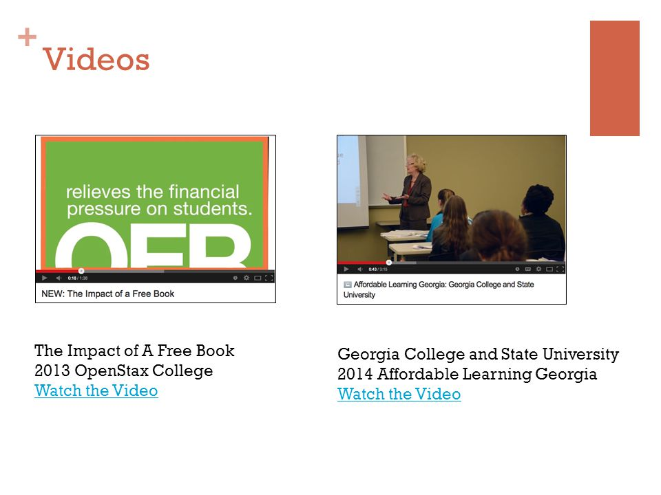 + Videos The Impact of A Free Book 2013 OpenStax College Watch the Video Georgia College and State University 2014 Affordable Learning Georgia Watch the Video
