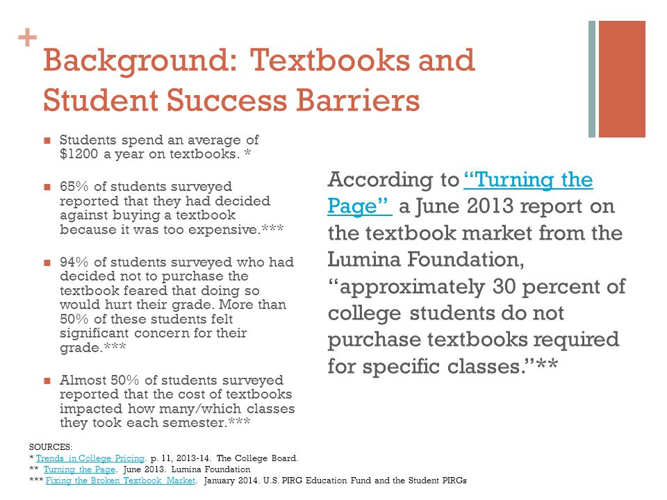 + Background: Textbooks and Student Success Barriers Students spend an average of $1200 a year on textbooks.