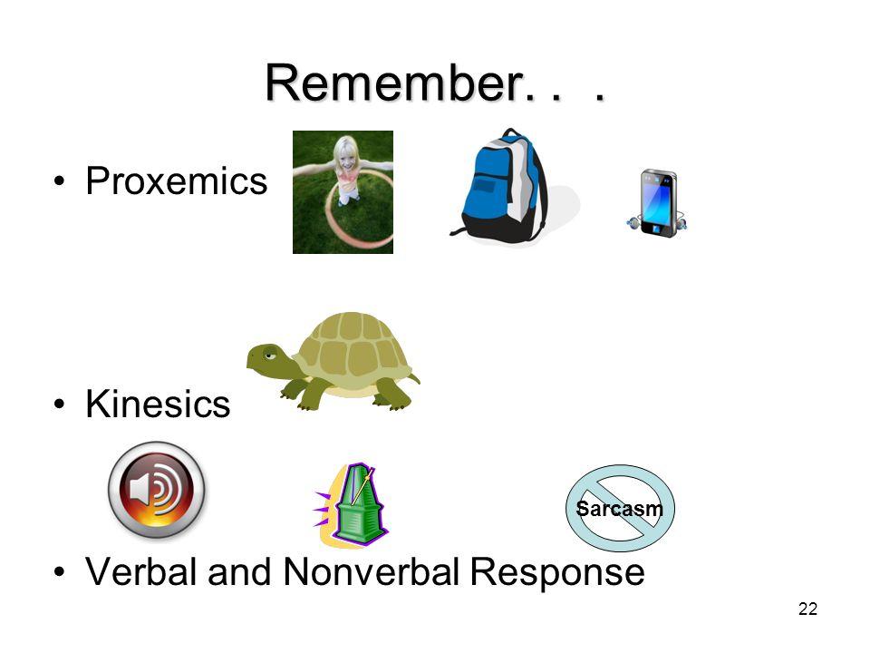 22 Remember... Proxemics Kinesics Verbal and Nonverbal Response Sarcasm