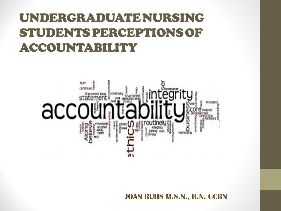 UNDERGRADUATE NURSING STUDENTS PERCEPTIONS OF ACCOUNTABILITY JOAN RUHS M.S.N., R.N. CCRN