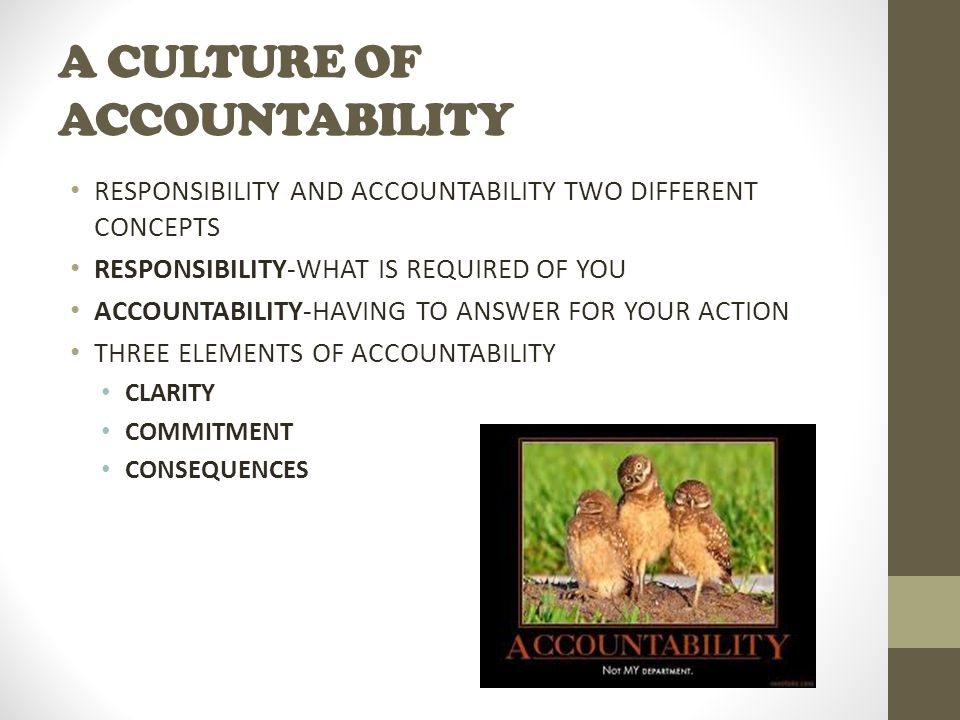 A CULTURE OF ACCOUNTABILITY RESPONSIBILITY AND ACCOUNTABILITY TWO DIFFERENT CONCEPTS RESPONSIBILITY-WHAT IS REQUIRED OF YOU ACCOUNTABILITY-HAVING TO ANSWER FOR YOUR ACTION THREE ELEMENTS OF ACCOUNTABILITY CLARITY COMMITMENT CONSEQUENCES