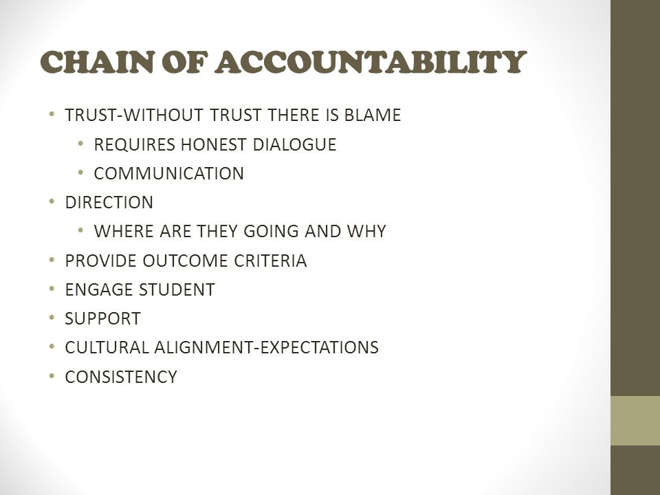 CHAIN OF ACCOUNTABILITY TRUST-WITHOUT TRUST THERE IS BLAME REQUIRES HONEST DIALOGUE COMMUNICATION DIRECTION WHERE ARE THEY GOING AND WHY PROVIDE OUTCOME CRITERIA ENGAGE STUDENT SUPPORT CULTURAL ALIGNMENT-EXPECTATIONS CONSISTENCY