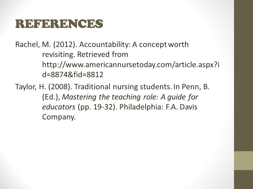 REFERENCES Rachel, M. (2012). Accountability: A concept worth revisiting.