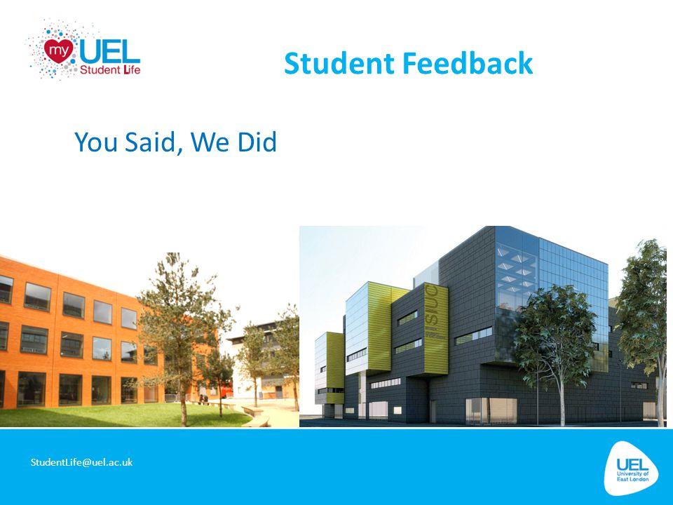 Student Feedback You Said, We Did StudentLife@uel.ac.uk