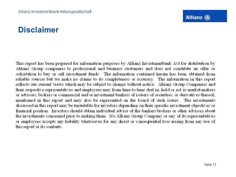Allianz Investmentbank Aktiengesellschaft Seite 11 Disclaimer