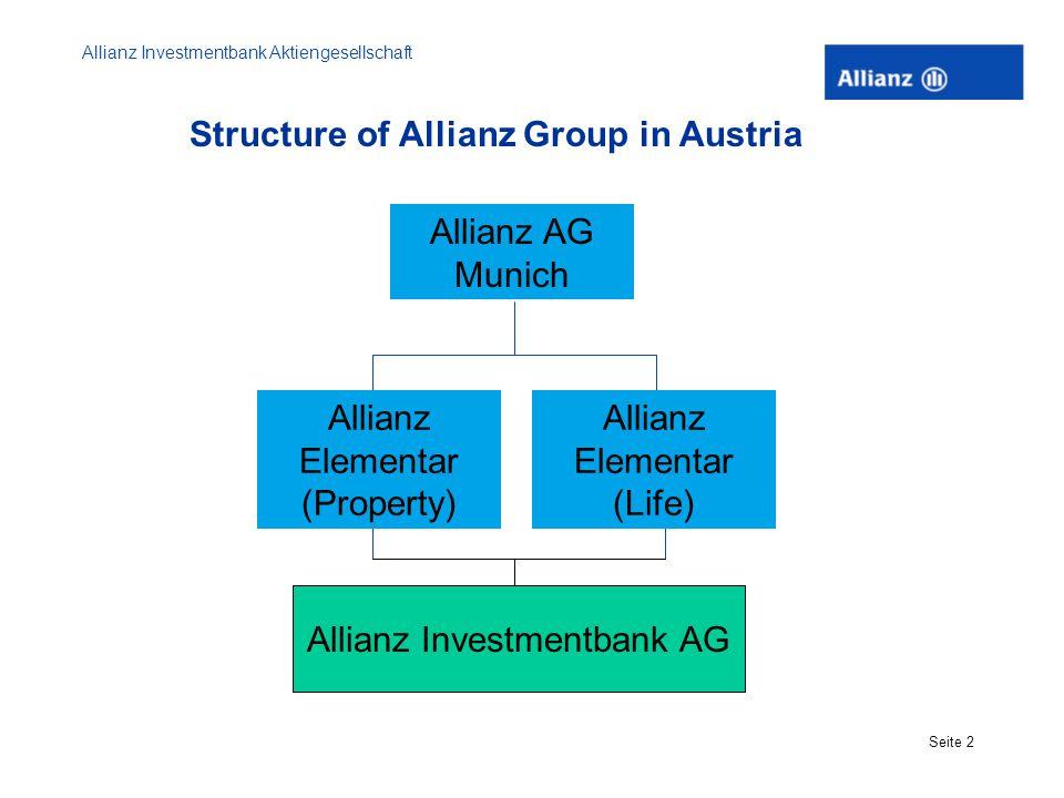 Allianz Investmentbank Aktiengesellschaft Seite 2 Structure of Allianz Group in Austria Allianz Elementar (Property) Allianz Elementar (Life) Allianz AG Munich Allianz Investmentbank AG
