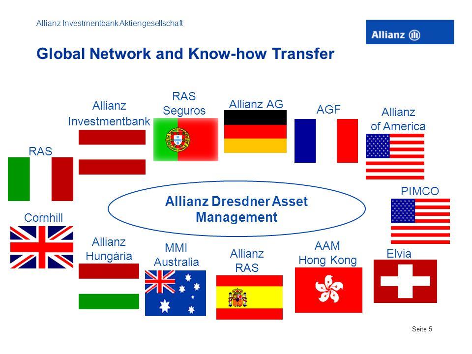 Allianz Investmentbank Aktiengesellschaft Seite 5 Global Network and Know-how Transfer RAS Allianz Investmentbank Allianz AG AGF Allianz of America El