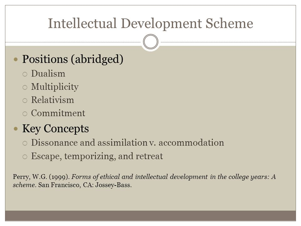 Intellectual Development Scheme Positions (abridged)  Dualism  Multiplicity  Relativism  Commitment Key Concepts  Dissonance and assimilation v.