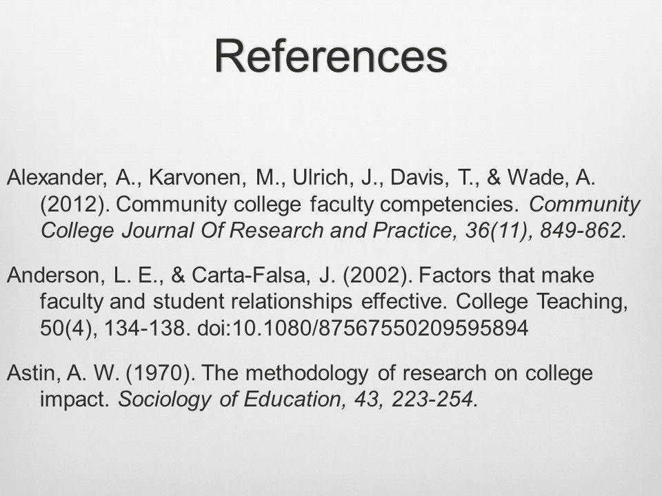 References Alexander, A., Karvonen, M., Ulrich, J., Davis, T., & Wade, A.
