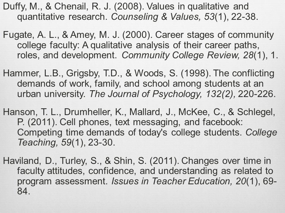 Duffy, M., & Chenail, R. J. (2008). Values in qualitative and quantitative research.