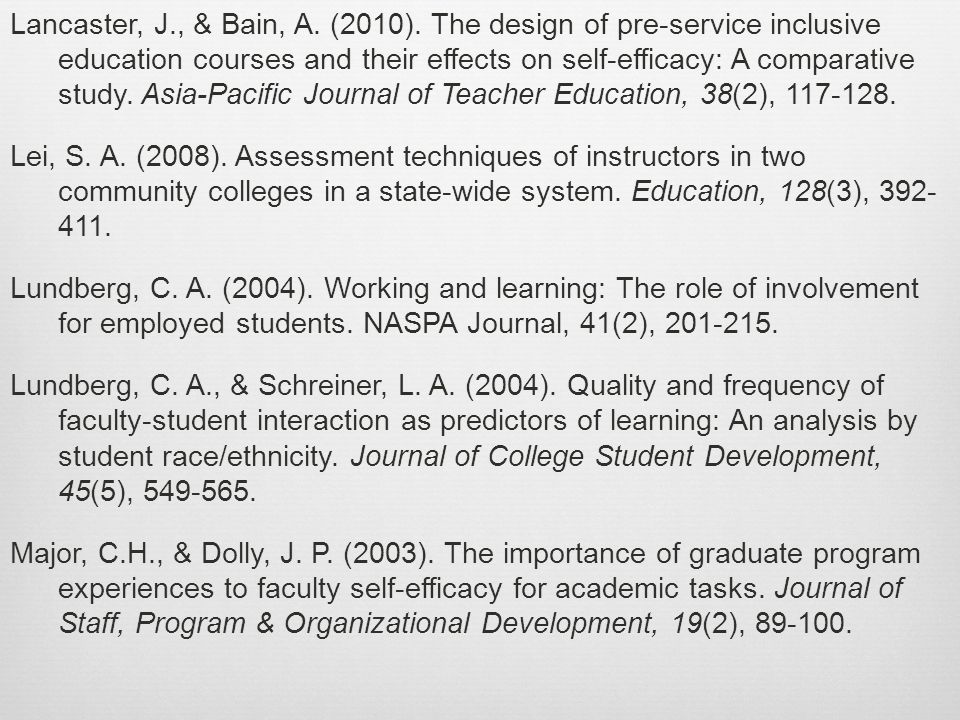 Lancaster, J., & Bain, A. (2010).