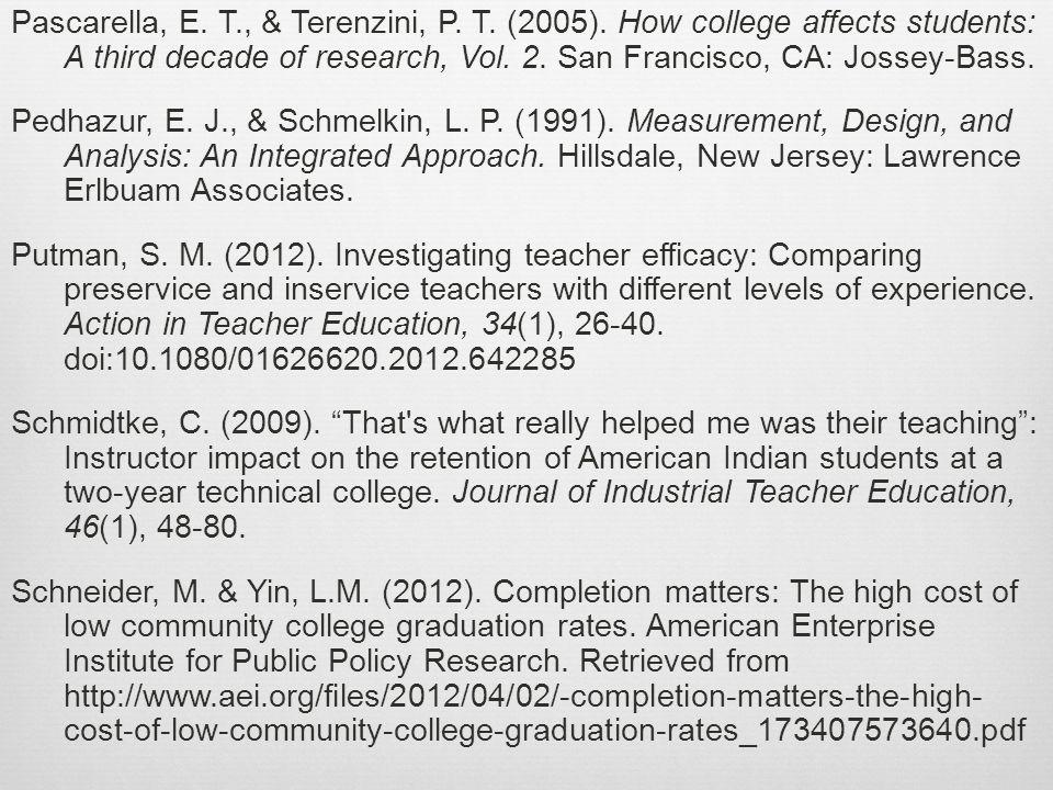 Pascarella, E. T., & Terenzini, P. T. (2005).