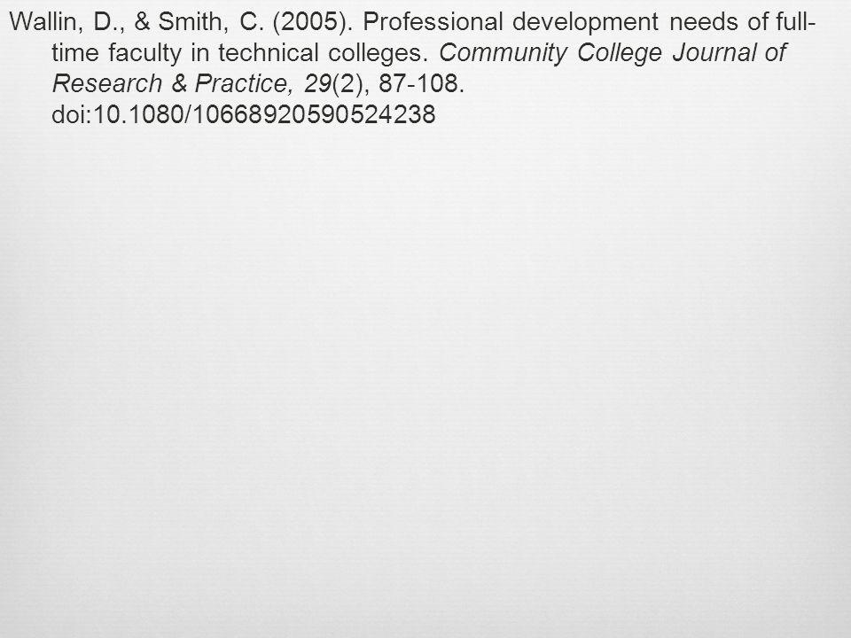 Wallin, D., & Smith, C. (2005).