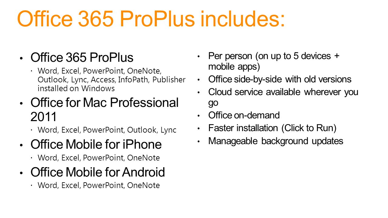Office 365 ProPlus includes: Office 365 ProPlus  Word, Excel, PowerPoint, OneNote, Outlook, Lync, Access, InfoPath, Publisher installed on Windows Office for Mac Professional 2011  Word, Excel, PowerPoint, Outlook, Lync Office Mobile for iPhone  Word, Excel, PowerPoint, OneNote Office Mobile for Android  Word, Excel, PowerPoint, OneNote Per person (on up to 5 devices + mobile apps) Office side-by-side with old versions Cloud service available wherever you go Office on-demand Faster installation (Click to Run) Manageable background updates