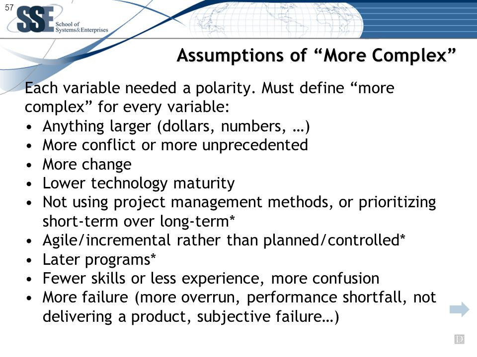 Assumptions of More Complex Each variable needed a polarity.