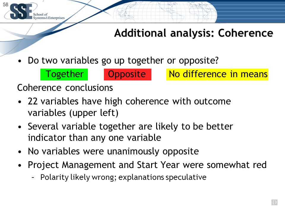 Additional analysis: Coherence Do two variables go up together or opposite.