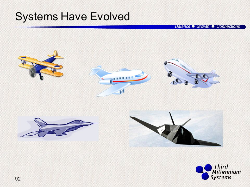 92 Balance ● Growth ● Connections Third Millennium Systems Systems Have Evolved