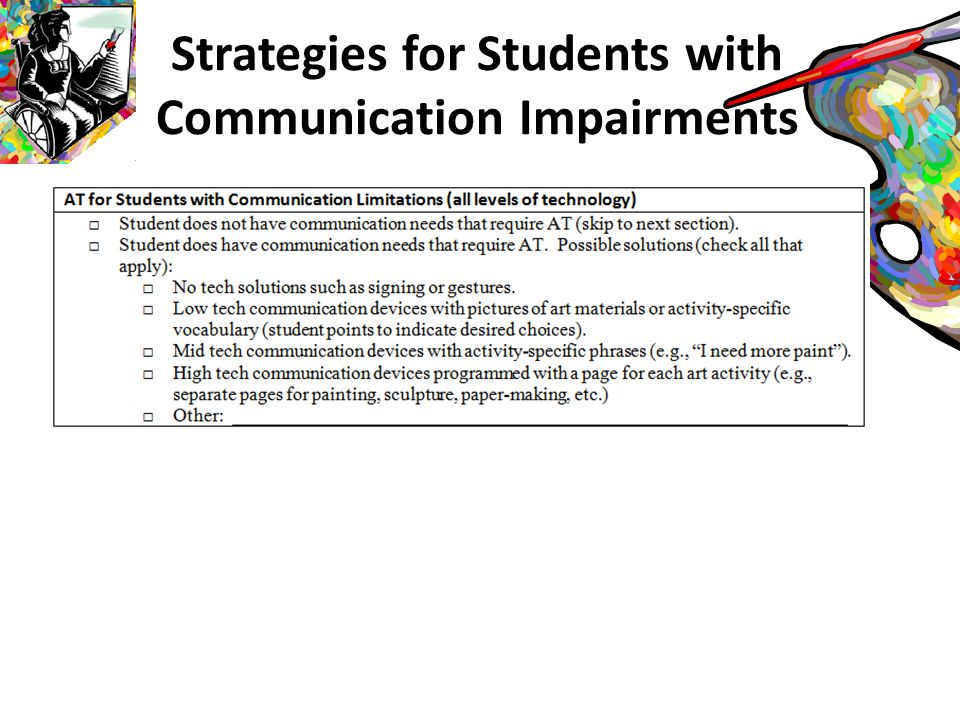 Communication Impairments: Levels of Participation Student communicates verbally Student communicates every message with communication device Student