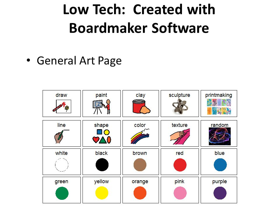 AT: Communication Devices Low tech – Created with specific software or images pasted into a word processing document – Different boards with vocabulary for each primary form of art: painting, clay, drawing, sculpture, printmaking, photography, collage, fiber, etc.