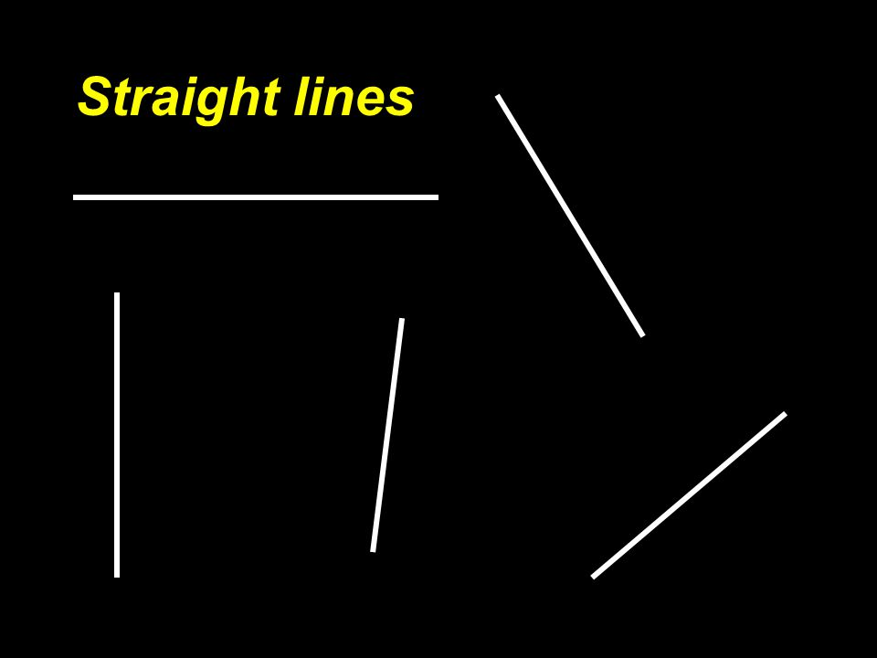 LINES A line is the path of a point moving through space. Let's look at some lines