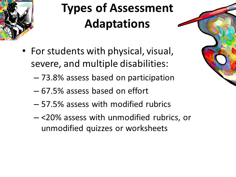 Results: Preparedness Ratings of knowledge and skills for teaching art to students without disabilities ranged from somewhat extensive to extensive Ratings of knowledge and skills for assessing and teaching art to students with physical, visual, severe or multiple disabilities fell between somewhat minimal to medium