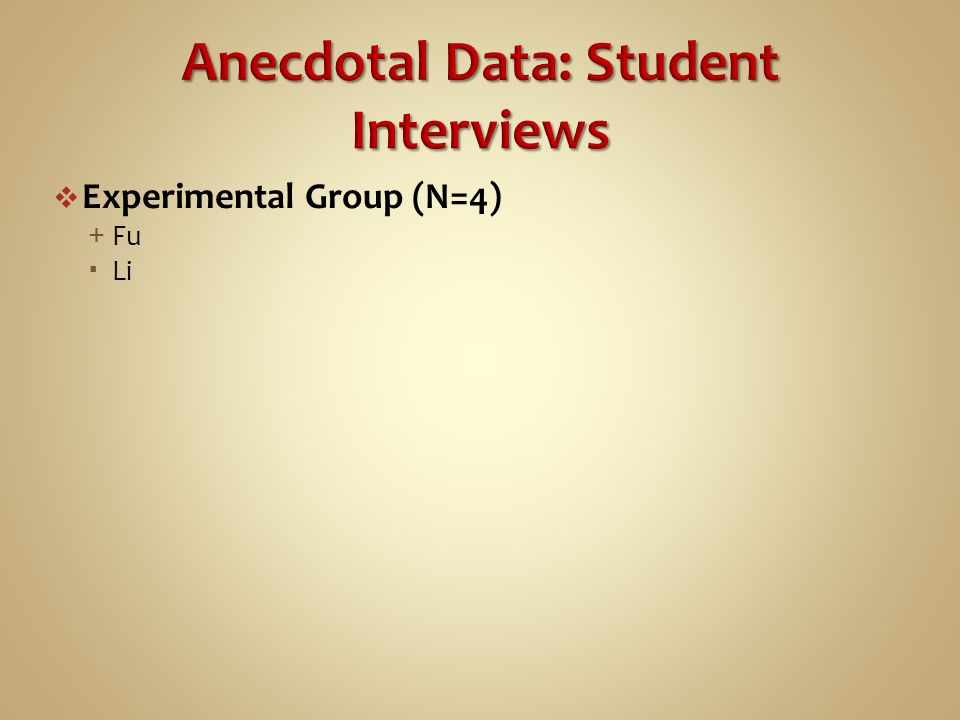  Experimental Group (N=4) + Fu  Li