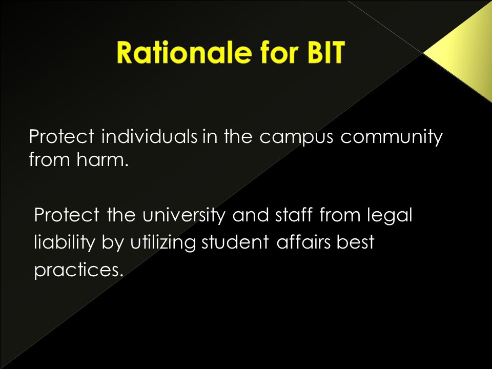 Protect individuals in the campus community from harm.