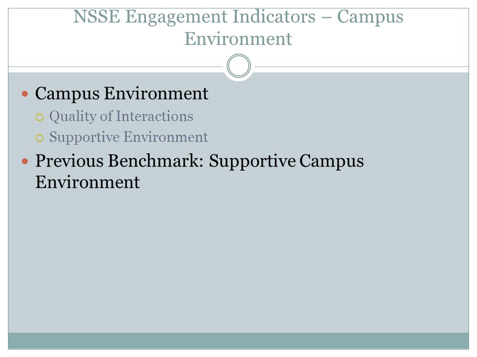 NSSE Engagement Indicators – Campus Environment Campus Environment  Quality of Interactions  Supportive Environment Previous Benchmark: Supportive C