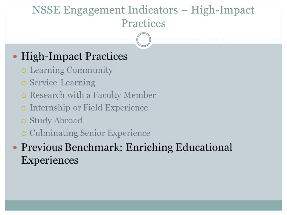 NSSE Engagement Indicators – High-Impact Practices High-Impact Practices  Learning Community  Service-Learning  Research with a Faculty Member  In