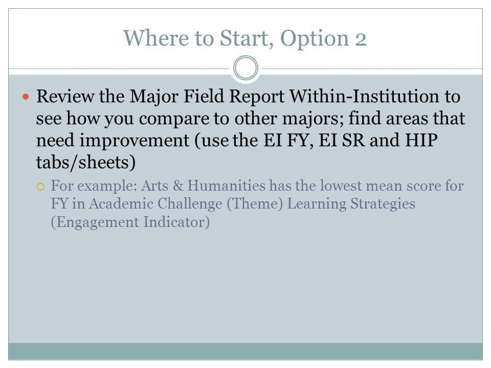 Where to Start, Option 2 Review the Major Field Report Within-Institution to see how you compare to other majors; find areas that need improvement (us