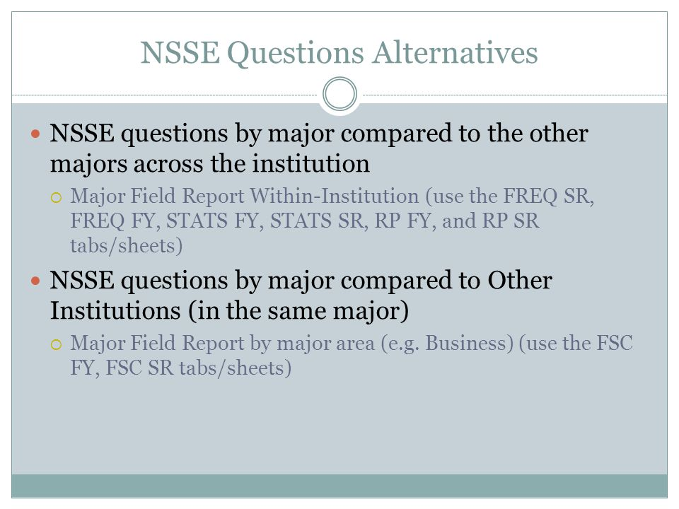 NSSE Questions Alternatives NSSE questions by major compared to the other majors across the institution  Major Field Report Within-Institution (use t