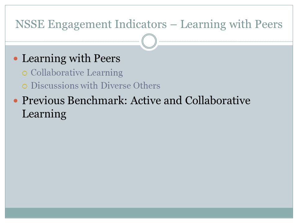 NSSE Engagement Indicators – Learning with Peers Learning with Peers  Collaborative Learning  Discussions with Diverse Others Previous Benchmark: Ac