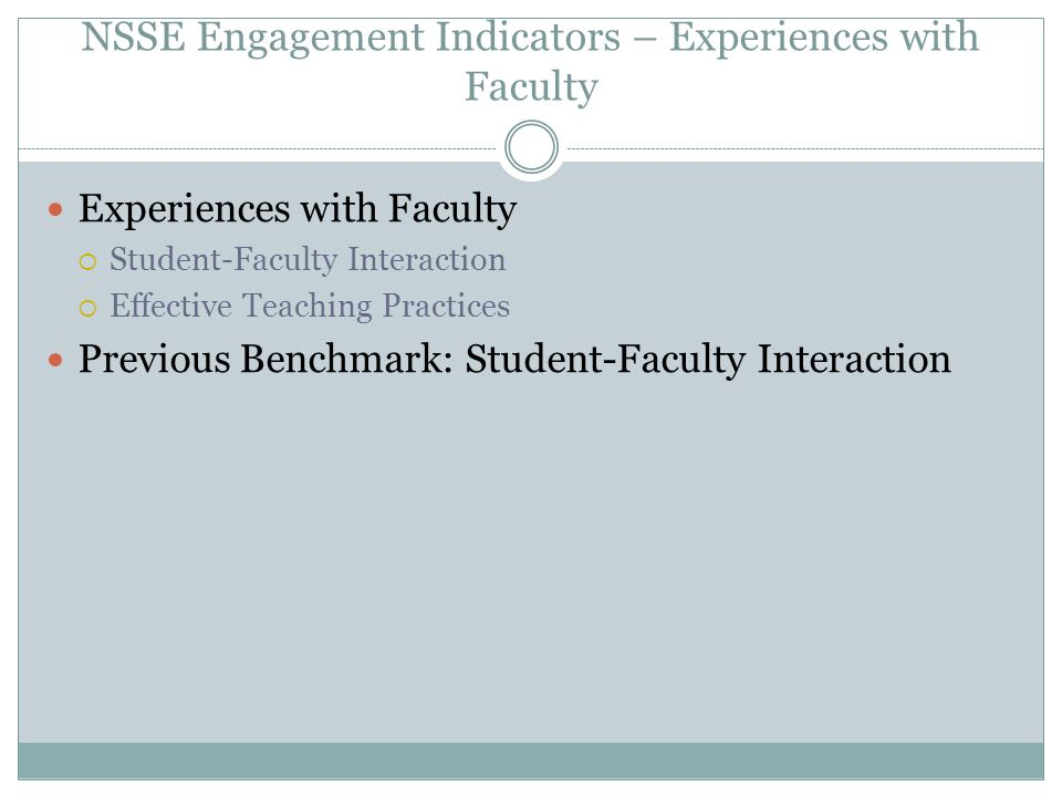 NSSE Engagement Indicators – Experiences with Faculty Experiences with Faculty  Student-Faculty Interaction  Effective Teaching Practices Previous B