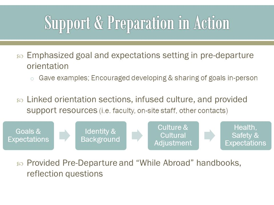  Emphasized goal and expectations setting in pre-departure orientation o Gave examples; Encouraged developing & sharing of goals in-person  Linked orientation sections, infused culture, and provided support resources (i.e.