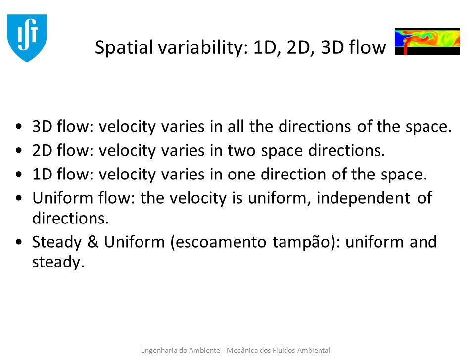 Engenharia do Ambiente - Mecânica dos Fluidos Ambiental Velocity Profile Steady/permanent (estacionário/permanente) Flow: the velocity does not change in time.