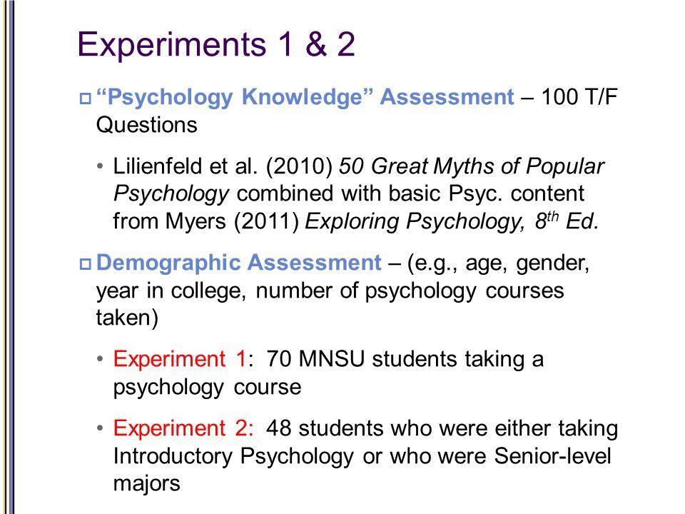Experiments 1 & 2  Psychology Knowledge Assessment – 100 T/F Questions Lilienfeld et al.