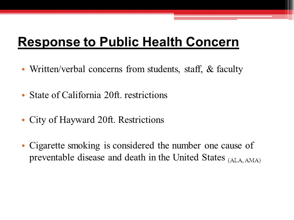 Response to Public Health Concern Written/verbal concerns from students, staff, & faculty State of California 20ft.