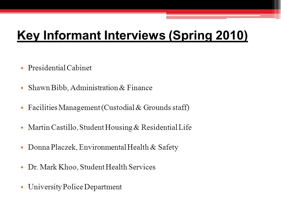 Key Informant Interviews (Spring 2010) Presidential Cabinet Shawn Bibb, Administration & Finance Facilities Management (Custodial & Grounds staff) Martin Castillo, Student Housing & Residential Life Donna Placzek, Environmental Health & Safety Dr.