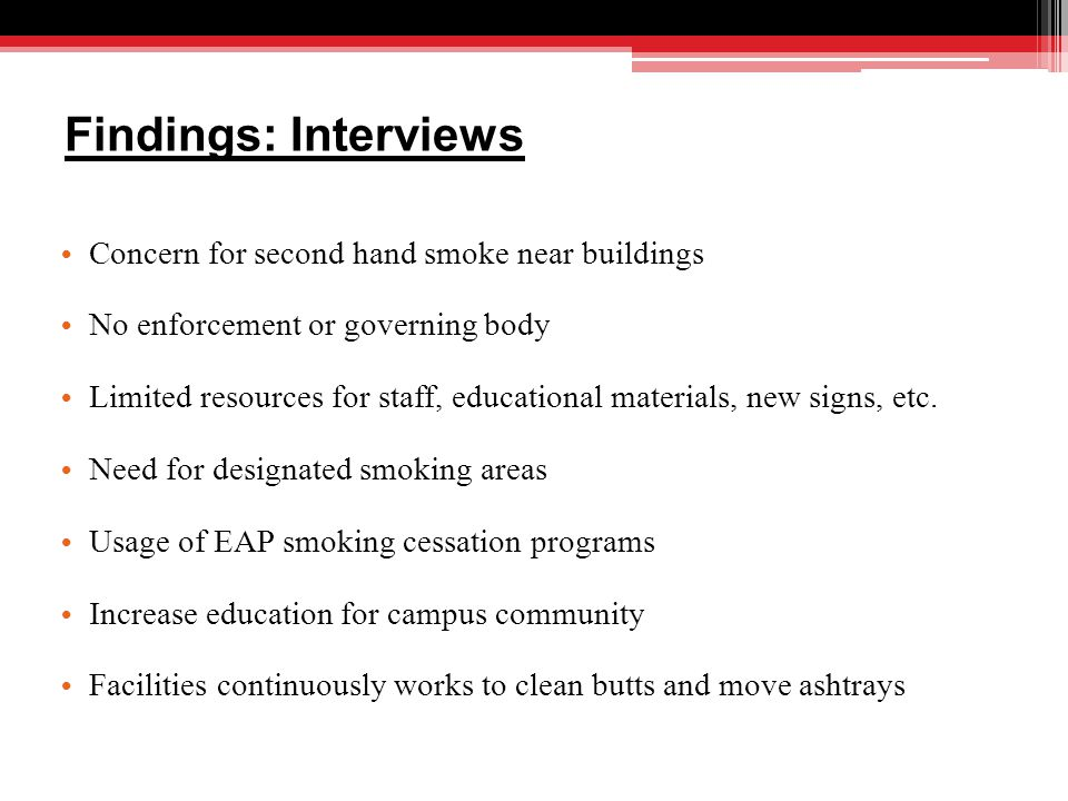 Findings: Interviews Concern for second hand smoke near buildings No enforcement or governing body Limited resources for staff, educational materials, new signs, etc.