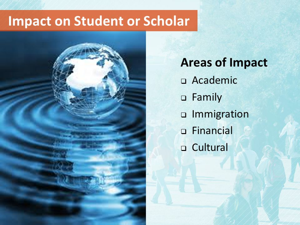 Areas of Impact  Academic  Family  Immigration  Financial  Cultural Impact on Student or Scholar