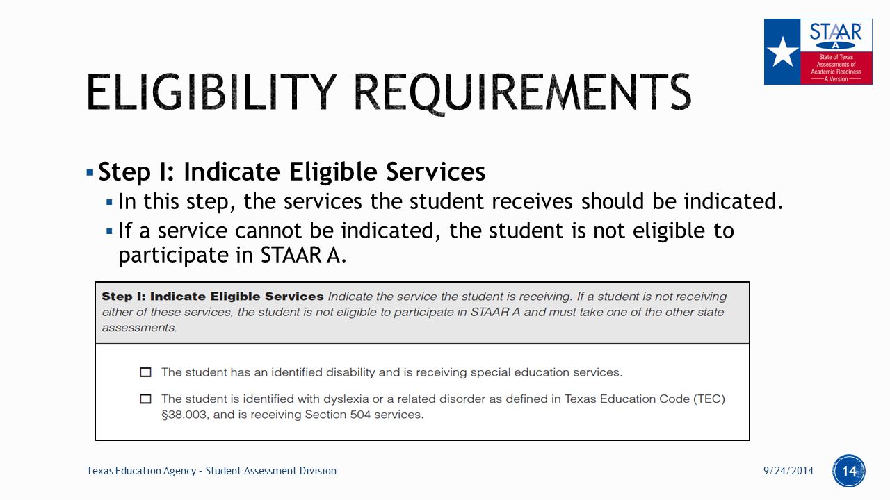  Step I: Indicate Eligible Services  In this step, the services the student receives should be indicated.