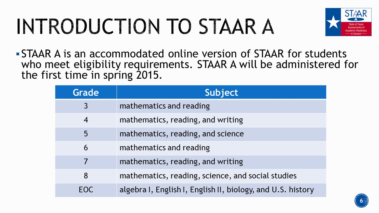  STAAR A is an accommodated online version of STAAR for students who meet eligibility requirements.